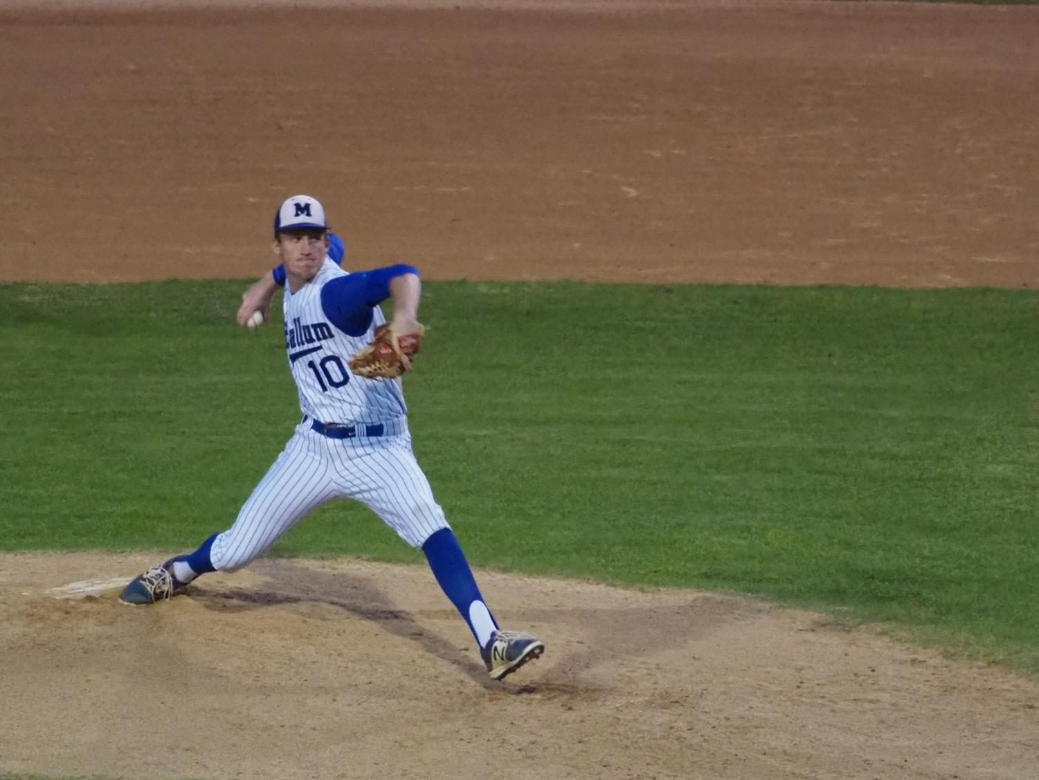 Mason Bryant had an effective outing in Game 1 of the series against Austin High, pitching 4 2/3 innings and striking out 11. McCallum won Game 1 of two-game series, 8-2. Photo by Gregory James.