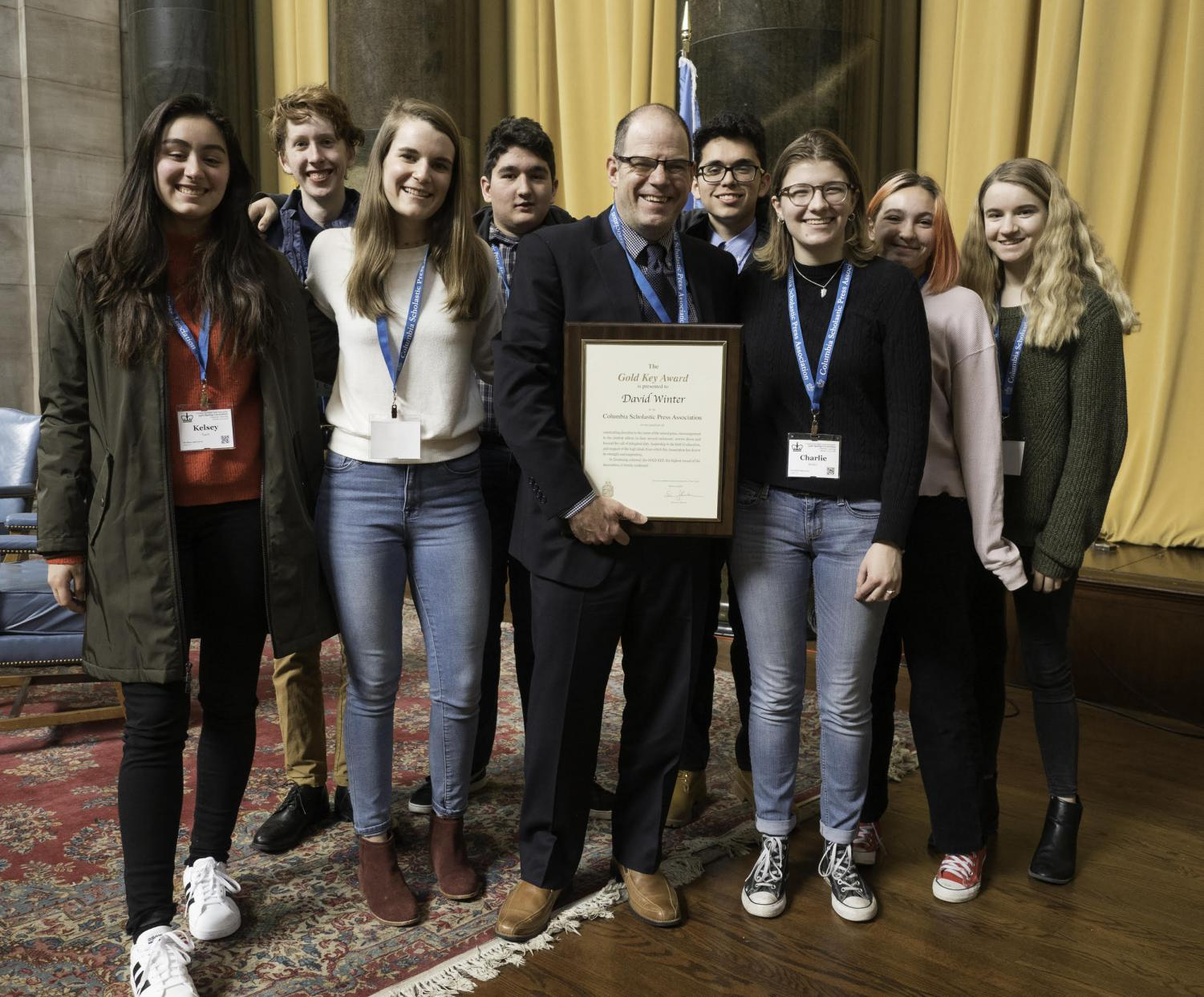 The McCallum delegation at the Columbia Scholastic Press Association pose for a pic after the adviser award's luncheon in the Low Library rotunda. Photo by Mark Murray.