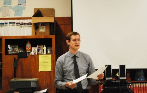 Student teacher shares his love of history with students