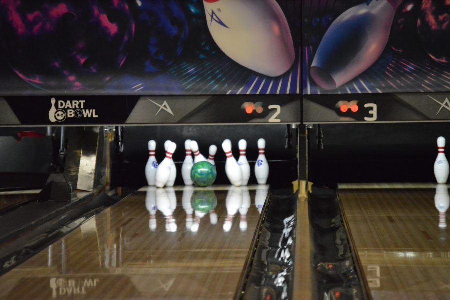 The team enjoyed a barrage of strikes at the end of their first practice game at Dart Bowl on Jan. 27. Photo by Sydney Amell.