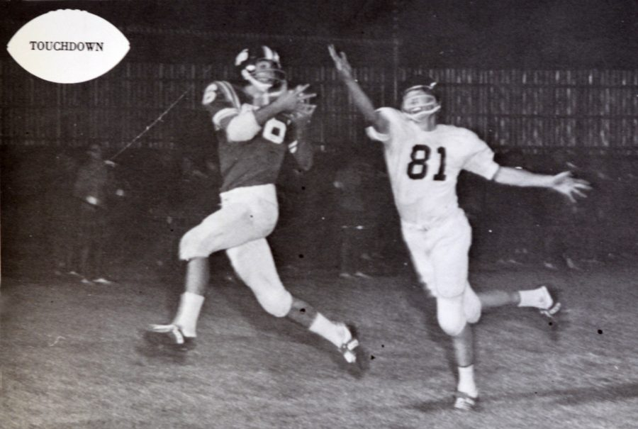 The 1966 McCallum-Austin game was a classic game with pivoted on a late first-half touchdown set up by this 25-yard pass from Steve Chrisman to Robert Morgan.  Photo from 1967 Knight.