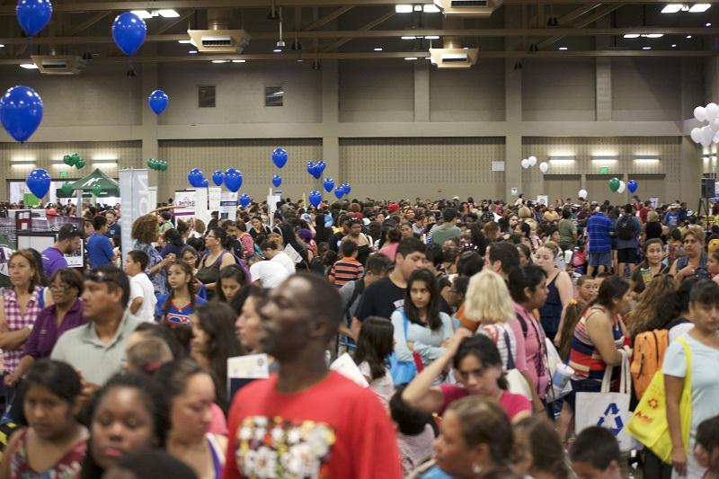 Project HELP, with AISD, organizes an annual Back to School Bash, where, in partnership with other community organizations, students with financial difficulties are provided with free vaccinations, haircuts, and backpacks filled with school supplies. Photo supplied by AISD.