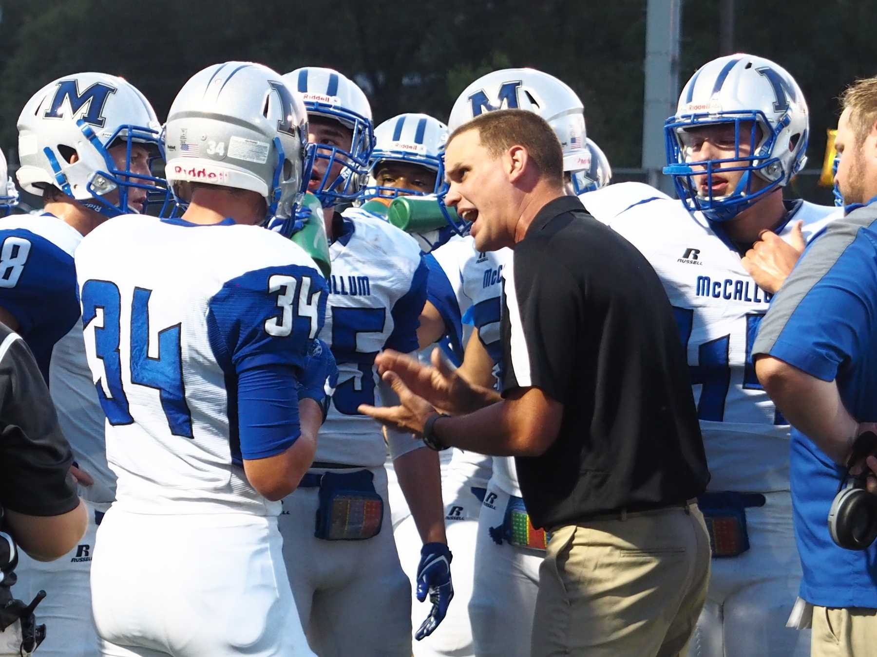 GAMEPLAN: Head coach Thomas Gammerdinger talks to the defense at the Taco Shack Bowl in 2017 when he was defensive coordinator.  File Photo by Gregory James.