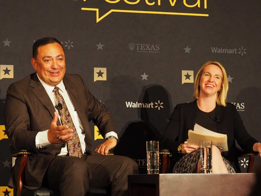 A SILVER LINING: Chief Acevedo of Houston Police discusses the better moments of the rescue operations after Hurricane Harvey. Acevedo was one of many speakers at the 7th annual Texas Tribune Festival. In a panel called the Story of Harvey, Acevedo discussed the effects of Harvey with Texas Tribune editor in chief, Emily Ramshaw. Photo by Gregory James