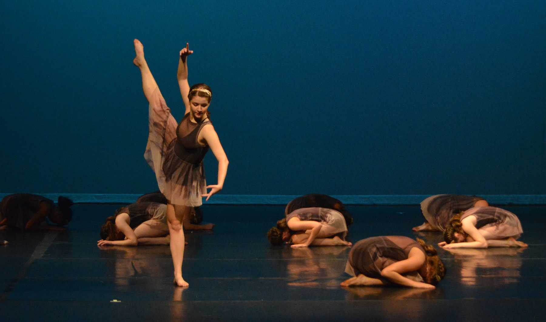 """Rising McCallum ninth-grader Annabel Winter won a superior award in feature photography for this fall dance show image of senior Aubrey Brown, during the dress rehearsal for the fall dance show,  """"TRADITIONS, innovating,"""" on Oct. 20."""