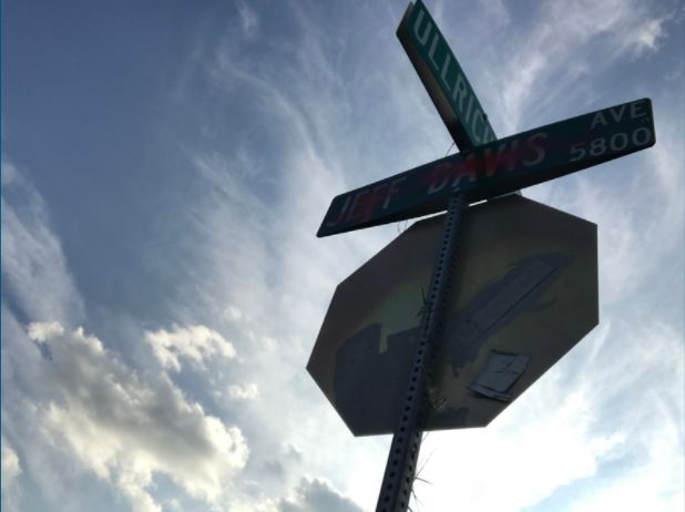 In the wake of the Charlottesville, Va., white supremacist rallies, the Austin City Council agreed to initiate the process of renaming roads named Robert E. Lee Road (in South Austin) and Jeff Davis Avenue (in North Austin in the McCallum district). The street signs in both areas have been vandalized. Almost 20,000 people have signed a petition to change the name of Robert E. Lee Road. Photo by Jillian Ortiz.