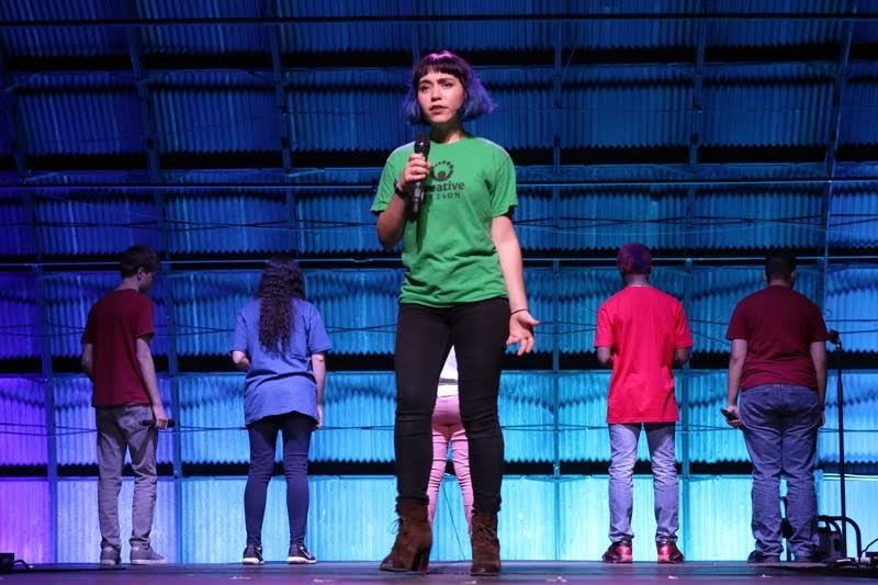Junior Andrea Barrera-Castro performs in the teen theatre collective of Creative Action, one of the local organizations that could be threatened by President Trump's proposed budget cuts. Photo courtesy of Barrera-Castro.