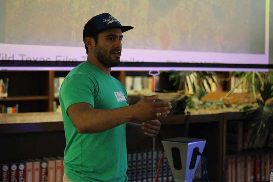 McCallum alumnus Austin Alvarado speaks to students in November about The River and the Wall, a documentary he has been helping to film for the past several months. Photo by Emma Baumgardner.