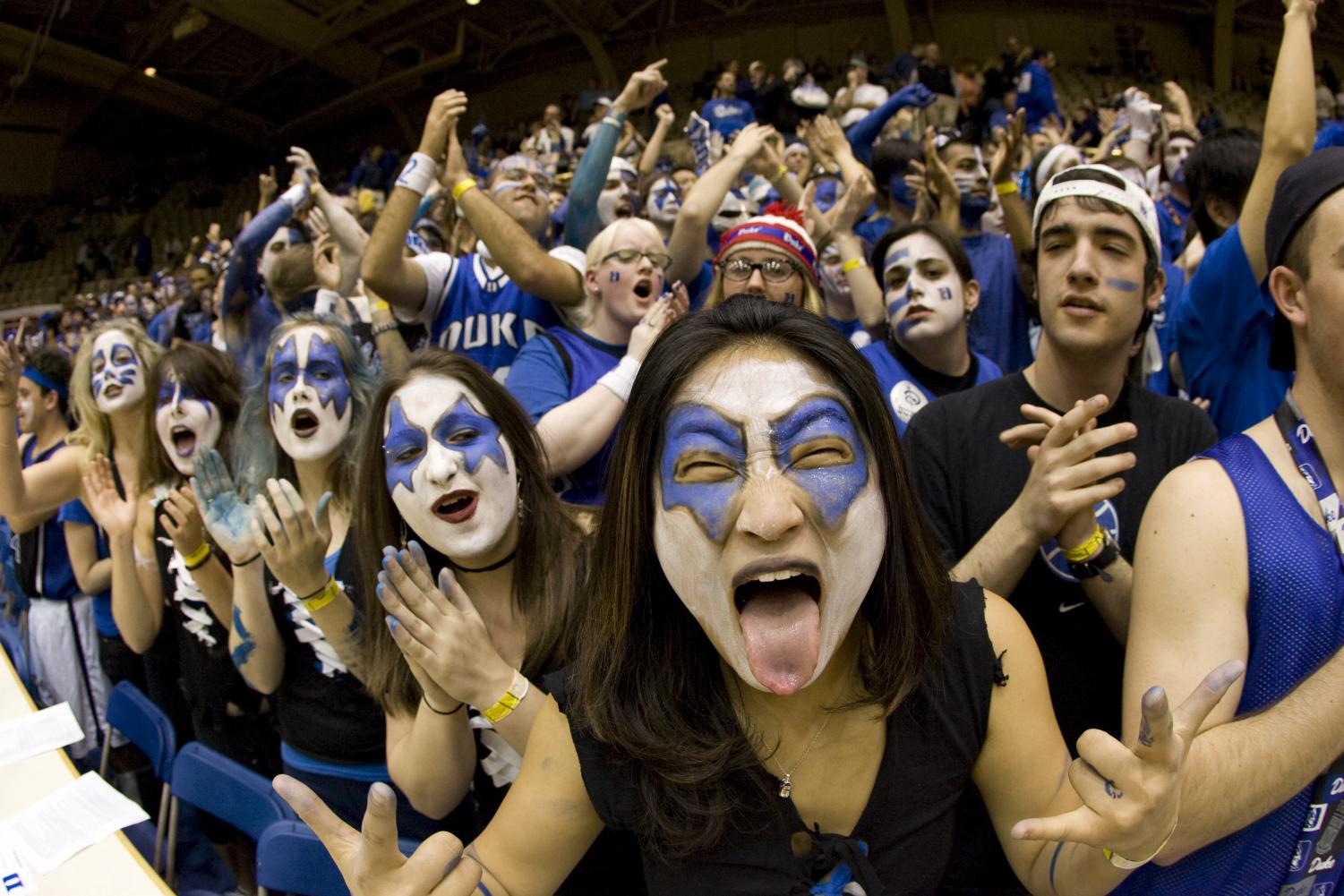 The Blue Devils faithful went nuts when the Dukies battled the Tar Heels on Feb. 14, 2001. Now the two teams will help decide who wins the Shield Final Four Challenge. Photo by Max Masnick, posted to Flickr. Reposted with permission.