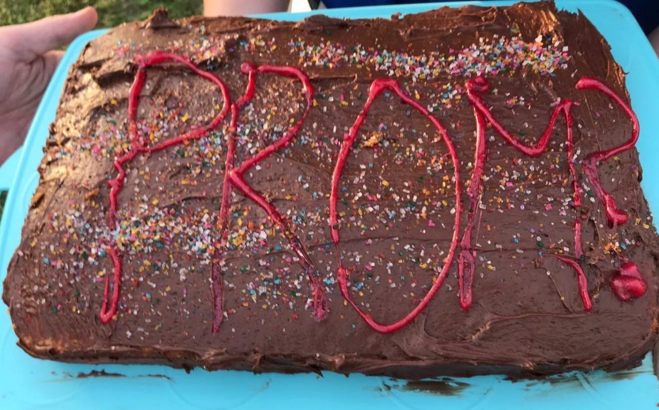 Keane Sammon won this Race by adding a little promposal bling (cake sprinkles) for the target of his promposal: senior Addie Race. Photo courtesy of Race.