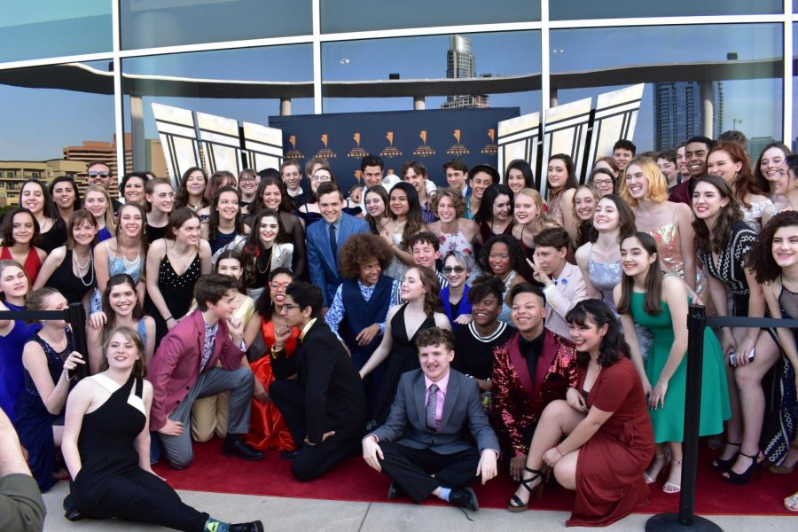 The+cast+and+crew+of+%22West+Side+Story%22+poses+for+a+group+photo+on+the+red+carpet+at+the+Long+Center.+Photo+by+Tammy+Fotinos.+