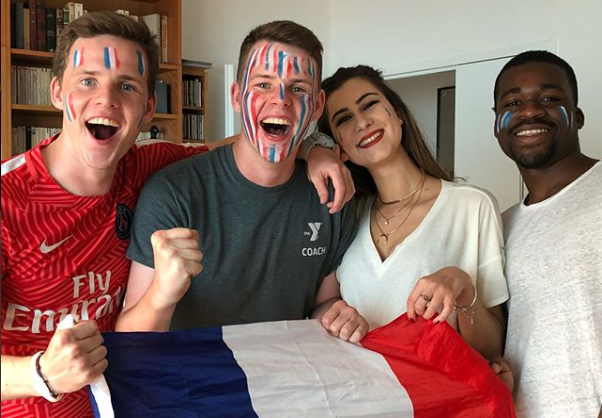 Frenchmen and former Knights Liam and Vincent McKenna (left) and their compatriots are fired up prior to the start of the World Cup final match, in which France defeated Croatia, 4-2, to win the World Cup for the first time since 1998. Photo courtesy of Liam McKenna.