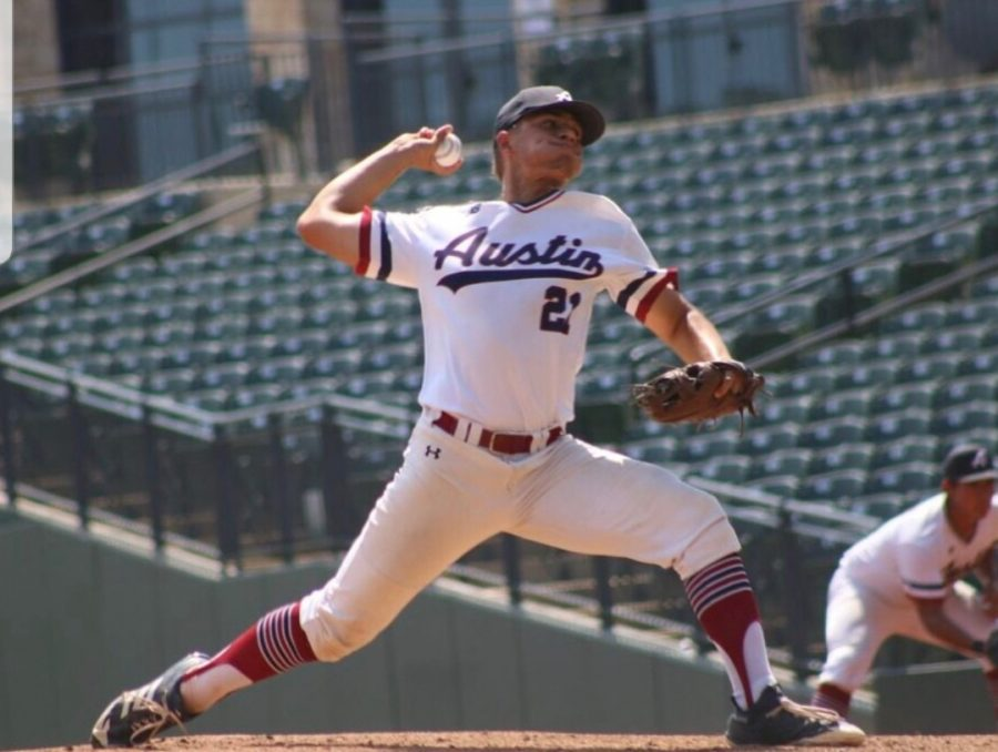 2018+grad+Eric+Worden+pitched+a+shutout+to+lead+RBI+Austin+to+its+first+ever+regional+title+and+RBI+World+Series+appearance.+Photo+courtesy+of+Worden.