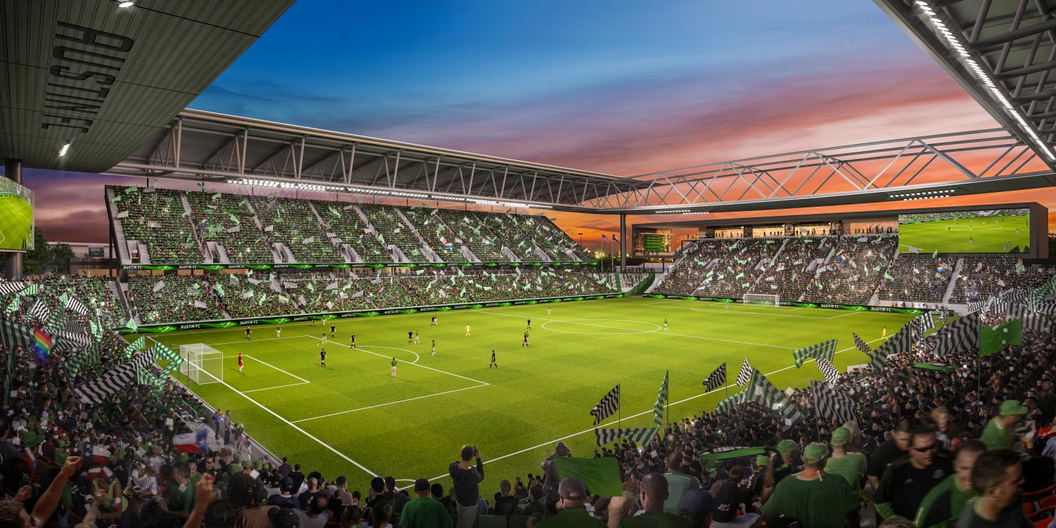 A rendering of Austin FC's McKalla Place stadium hosting a soccer game. The Austin City Council voted to allow Austin FC owner Anthony Precourt to build a stadium on the government owned land on Aug 15. The stadium would host Austin FC's games starting in the 2021 MLS season. Photo courtesy of mls2atx.com. Reposted with permission.