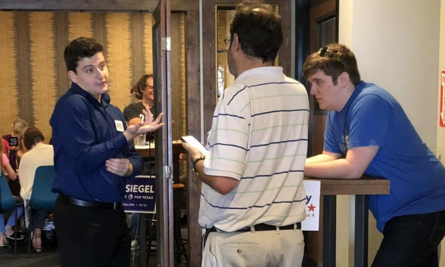 School board candidate Zachary Price meets with community members at his Brewtorium campaign event. Im not running away from the fact that Im young, Price said. His opponent, Kristin Ashy, 44, has the endorsement of current District 4 Trustee Julie Cowan.