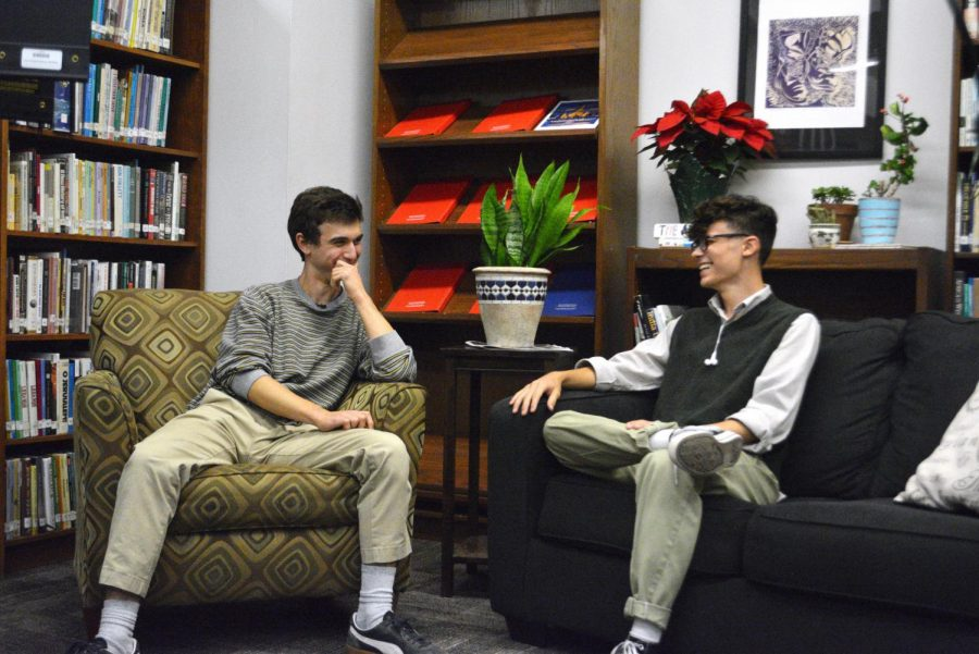 Sophomore film majors Ian Hackworth and Alex Martinez chat on the set of The Garden Show, the upstart AV talk show that aims to showcase McCallum's student artists.