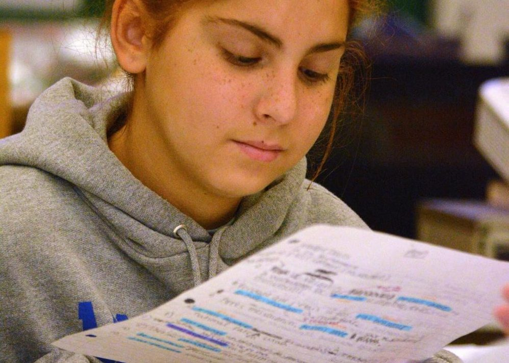 JUST THE HIGHLIGHTS: Freshman Bella Davis looks over her highlighted notes for French class with a partner. Photo by David Winter.