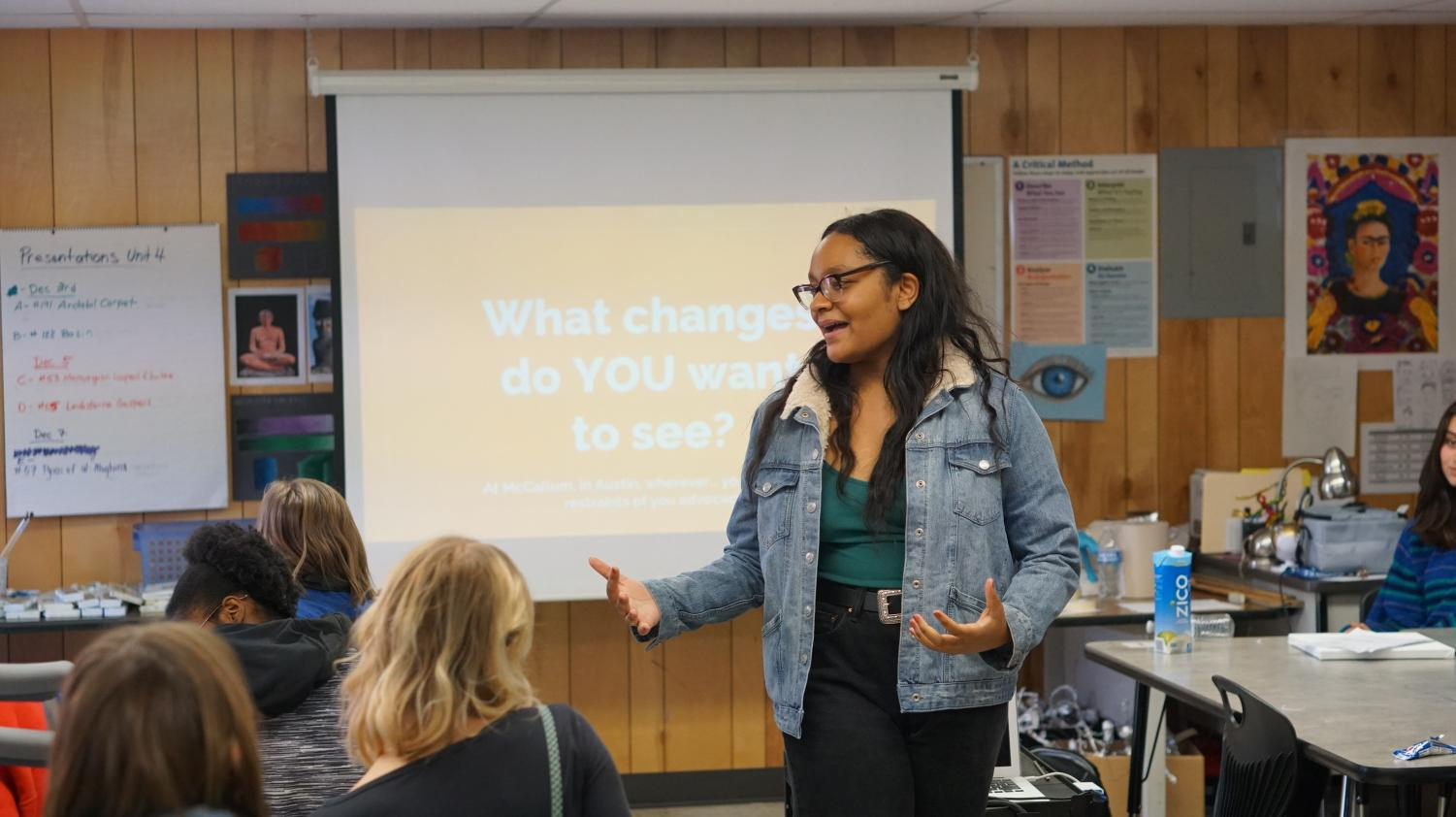 Junior Jordan Bibby presents at the first meeting of The Students of Color Alliance on Nov. 28 in Ms. O'Keefe's room.