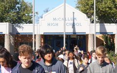 On Nov. 14, McCallum students evacuate the school during a first-period  monthly fire drill. Though we prepare for disasters during first period, we don't practice evacuating during any other class period, except for fifth period once. As a result, we are only familiar with the routes and procedures we would need to follow during first period.  Photo by Sarah Slaten.