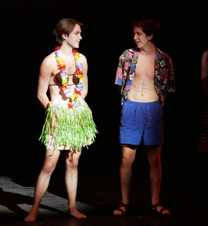Lewis Hughes and Dillon Guerrero show off their different approaches to Hawaiian-style swimwear.