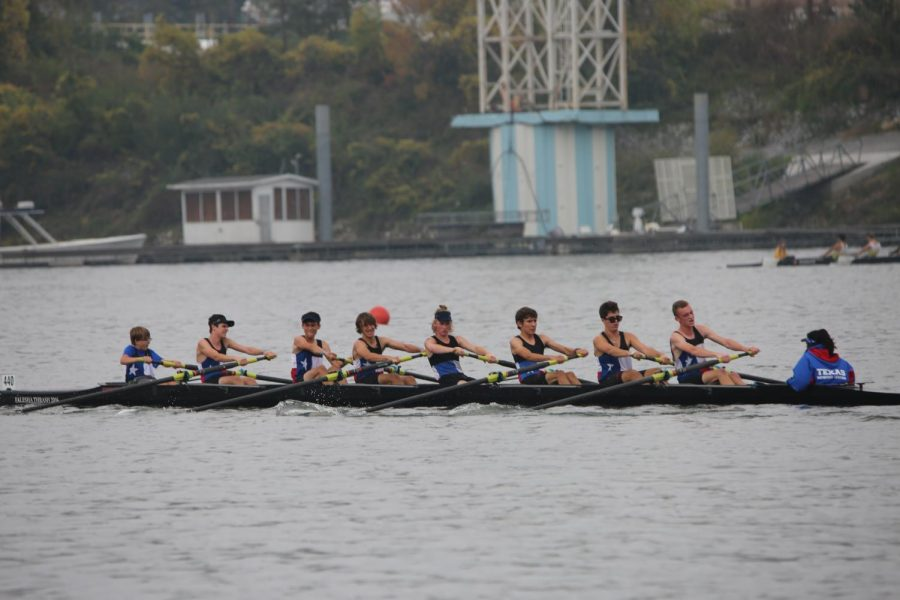 Carson Smith (front) strokes his Novice Eight boat to victory at Head of the Hooch in 2017. Carson was a senior at Anderson High School and a Varsity Rower at Texas Rowing Center before his death on January 27, 2019.  Photo by Falesha Thrash.