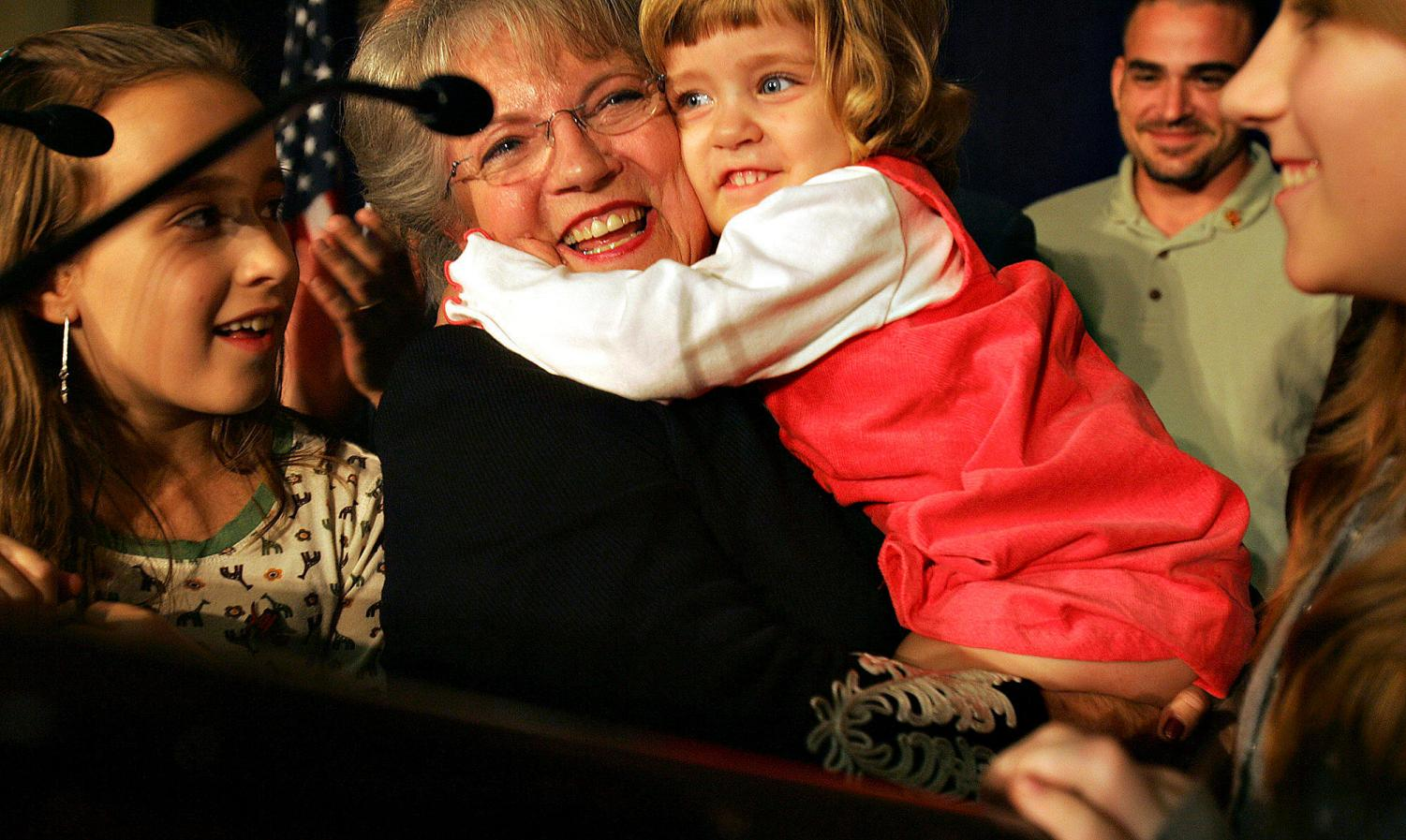 Carole Keeton holds her granddaughter, Anna McClellan (who happens to have the byline for this article), and is surrounded by her other granddaughters, Kathryn and Michelle McClellan, as she gives her concession speech for the gubernatorial race on Nov. 7, 2006. Although, she lost the race, having her family there made it one of the highlights of her political career.
