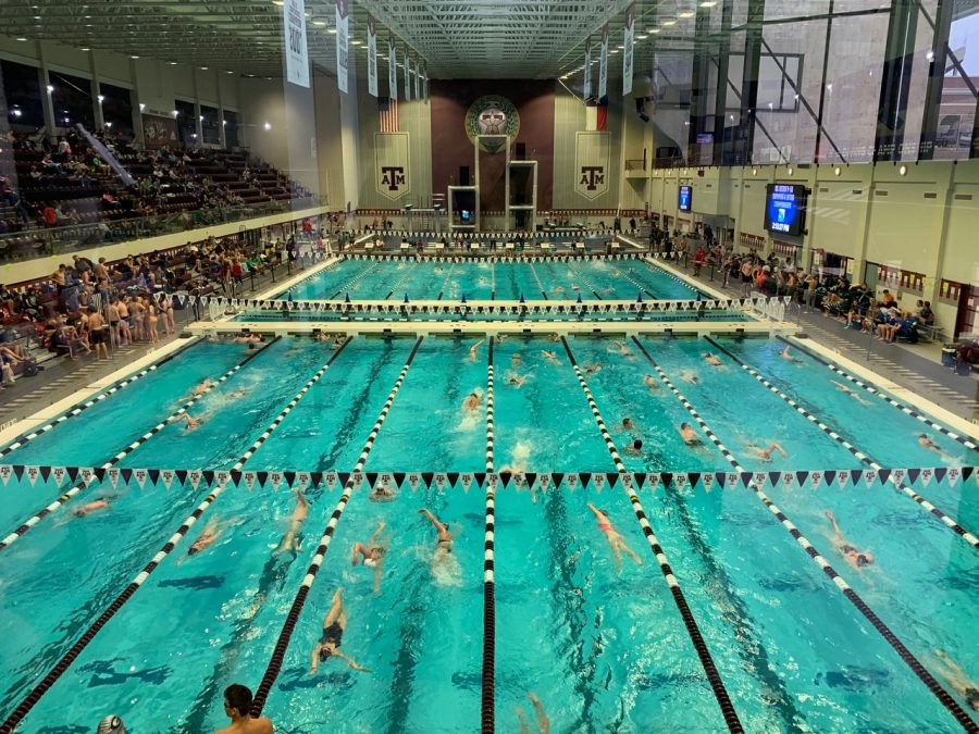 Tensions rise during warm-ups; as swimming begins students get in the zone for their swim. Region was swam at the A&M university pool in College Station.