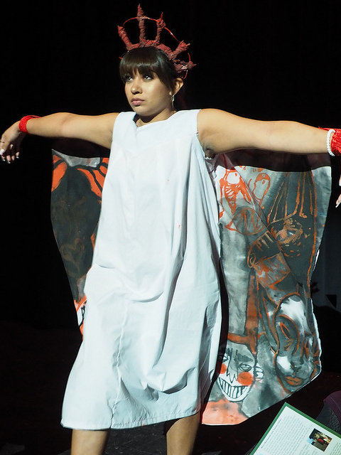 Alejandra Berrelleza models one of Sease's devil-inspired designs during the Jan. 12 fashion show, Paradigm, in the MAC.