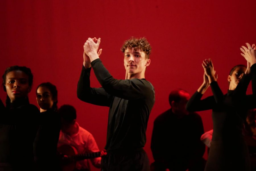 """Sophomore Aydan Howison performs in the spring dance concerts opening number, Ciudad sin Sueno, as a member of the Emerging Dance Troupe. """"Before this show, I had never heard of Flamenco dance and the culture that surrounded it,"""" Howison told MacJournalism after the Friday performance."""