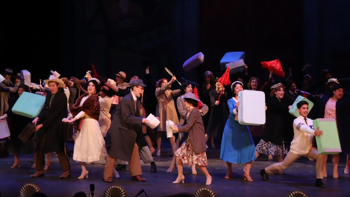 """The writers of """"Pretty Lady,"""" the show that """"42nd Street""""  follows, lead the actors of the show in the number """"Getting Out of Town"""" where they celebrate """"Pretty Lady"""" beginning its touring run."""