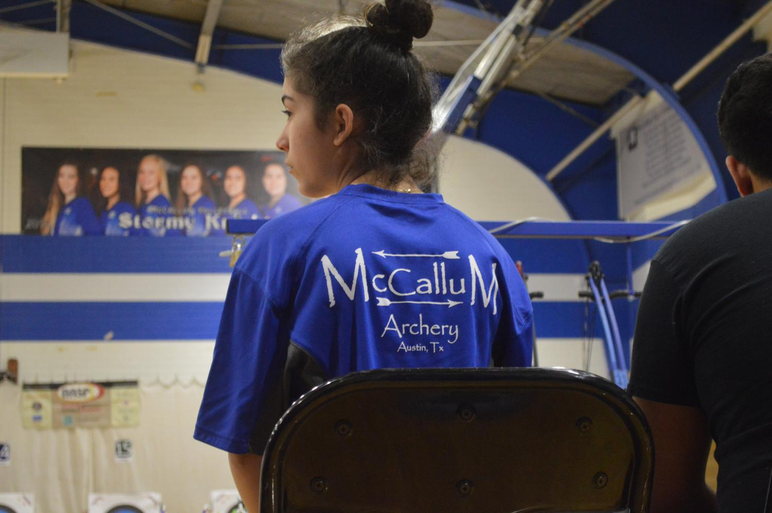 Sophomore Mariana Torres DeLine waits patiently in her seat as the whistle is ready to be blown for the 15-meters shots at McCallum on December 15th, 2018.