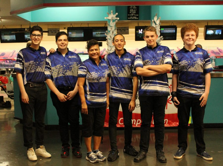The varsity bowling team poses for a picture after thrashing Anderson, 17-0, at Dart Bowl on Feb. 1. At that point in the season, the boys were 6-0 for the season, and had outscored their opponents, 95-7. Photo by Frances Arellano.