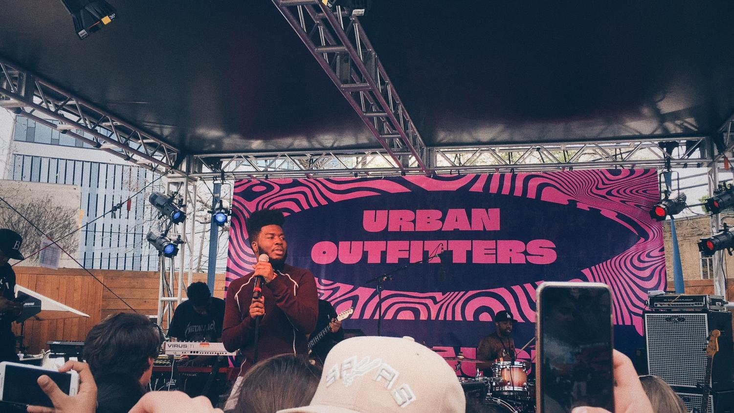 R&B artist and El Paso native Khalid plays the Urban Outfitters stage during an unofficial SXSW show in 2017. The concert, like many outside of the official SXSW festival,  was completely free, proving again that you don't need to be wealthy just savvy to enjoy the best of SXSW. Photo by Zoe Hocker.