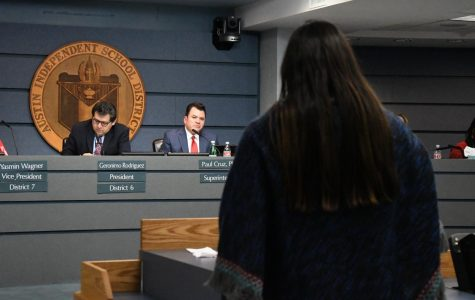 An AISD teacher speaks to the Board of Trustees on the importance of maintaining teacher-planning periods during the development of the 2019 budget.