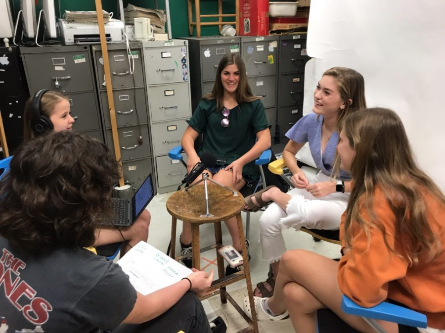 Shield reporters Bella Russo and Kristen Tibbetts catch up with three of the four girls varsity soccer captains (Ellie Stites, Delaney Carter and Henna McRae) on the eve of their opening round state playoff game. Photo by Gregory James.