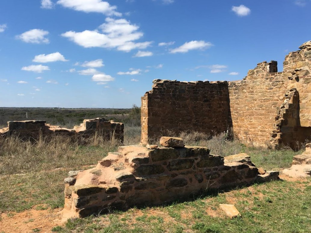 The stone ruins of Fort Chadbourne overlook the Texas wilderness. Built in 1852, they were once used to protect soldiers and their families, but now all that remains are a few stone walls. In its long history, it also served as a mail-route stop and as a private ranch.