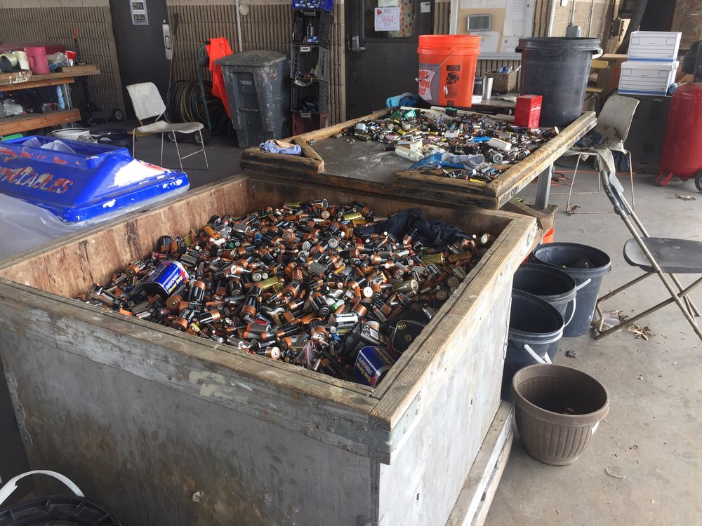 Batteries wait to be sorted and recycled at Austin Resource Recovery.