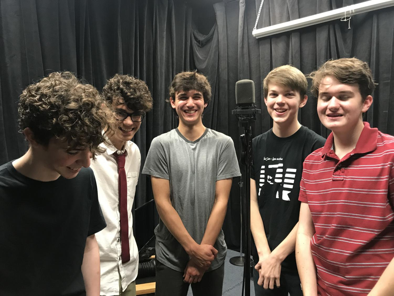 Sophomores Quinn Lawrence-Sanderson, Alex Martinez, Ian Hackworth and Jude Gravoir converse about