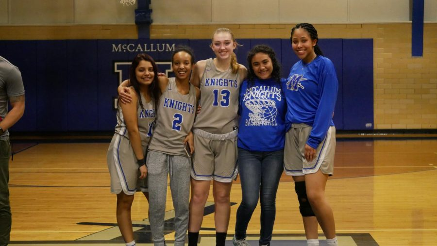 Maddy+poses+with+the+other+varsity+seniors+on+Senior+Night+against+Lanier+in+the+Don+Caldwell+Gymnasium+on+Feb.+5.+Photo+by+Selena+De+Jesus.