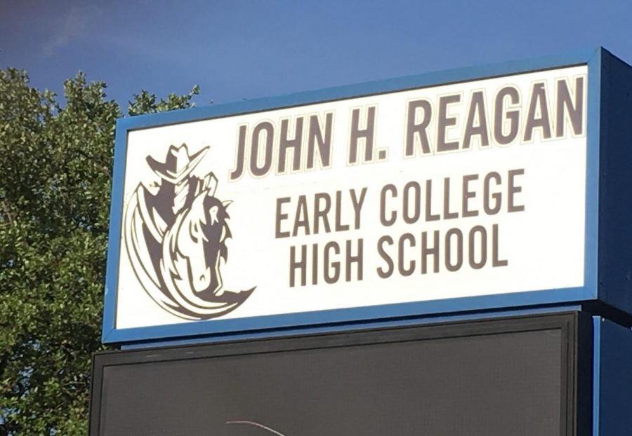 The+marquee+of+Reagan+High+School+Early+High+School+will+have+to+be+changed+after+the+Board+of+Trustees+voted+to+rename+the+school+Northeast+High+School.+