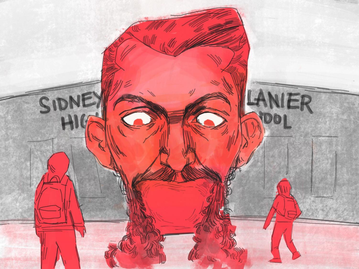 Sidney Lanier was the latest and last Austin ISD namesake with Confederate ties still standing, but on March 25, the Board of Trustees voted to change the name of Lanier High School to Juan Navarro High School. Navarro is a Lanier alumnus who was killed while serving in the United States Armed Forces in Afghanistan in 2012. Illustration by Bella Russo.