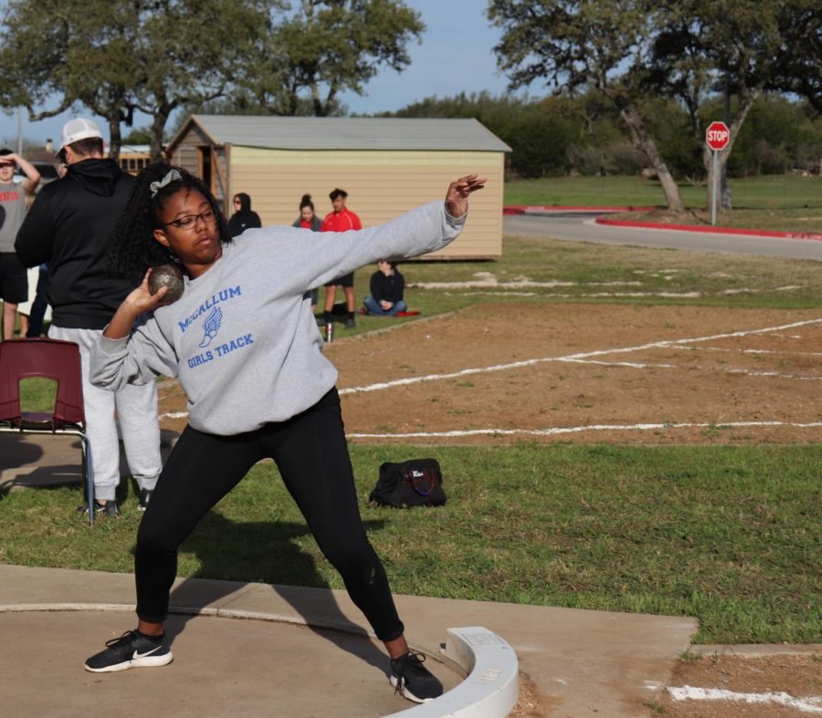 Gibson competes in the Dripping Springs meet on Feb. 28, where she threw her personal record. On March 9, she beat her record again during the Saint Andrews meet by throwing 26'9.25.