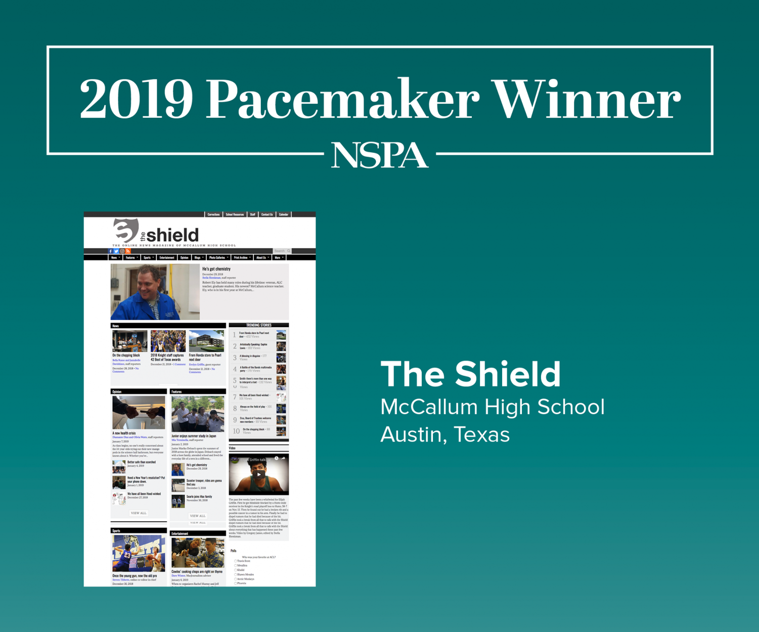 The 2019 Online Pacemaker Award is the school's second straight online Pacemaker and the school's fourth overall. Graphic courtesy of NSPA.