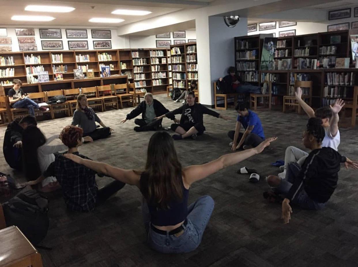 "On Feb. 7, the Social and Emotional Learning Committee launched ""Wind Down Wednesday"" to help combat stress and any negative energy.  Dance teacher Natalie Uehara led the morning stretch and focus that started at 8:40 a.m. and lasted 10 minutes. Photo courtesy of Jane Farmer."