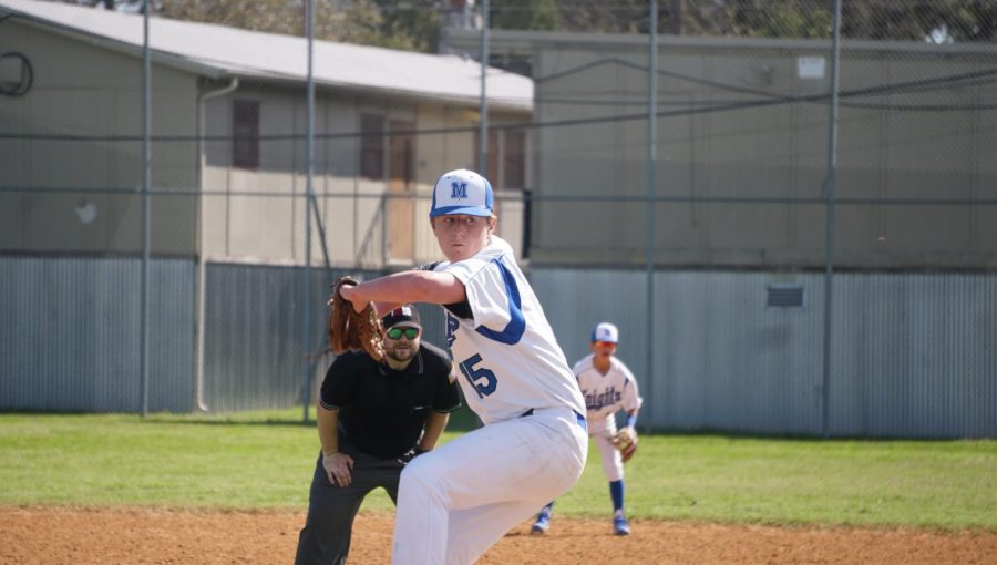 Honea delivers a pitch the second game of the JV2s doubleheader loss to the Bowie Bulldogs at the McCallum baseball field on March 9.