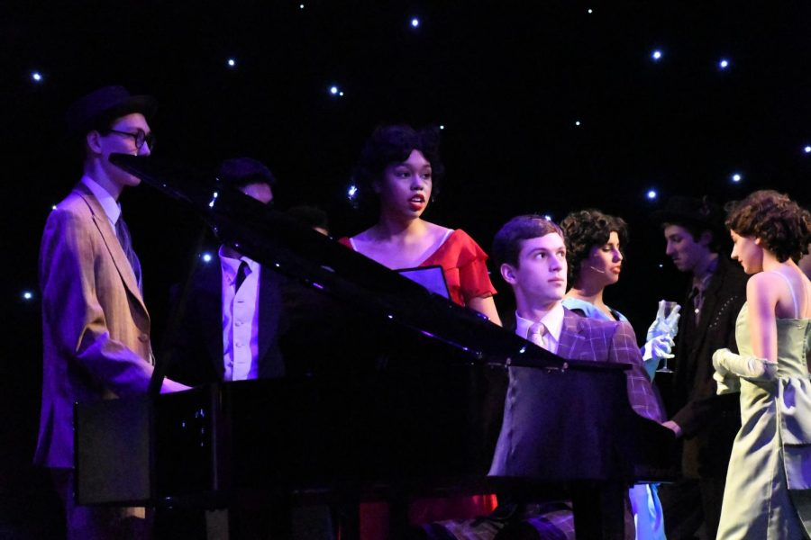 PIANO MAN:  While playing the role of Oscar, the pianist in MacTheatre's spring production of 42nd Street, Forbes had the chance to perform on stage in the ensemble while playing piano live at the same time. Photo by Bella Russo..