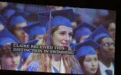 At McCallum's commencement ceremony on May 29, AISD Superitendent Paul Cruz recognized graduate Claire Rudy for her outstanding high school swim career.