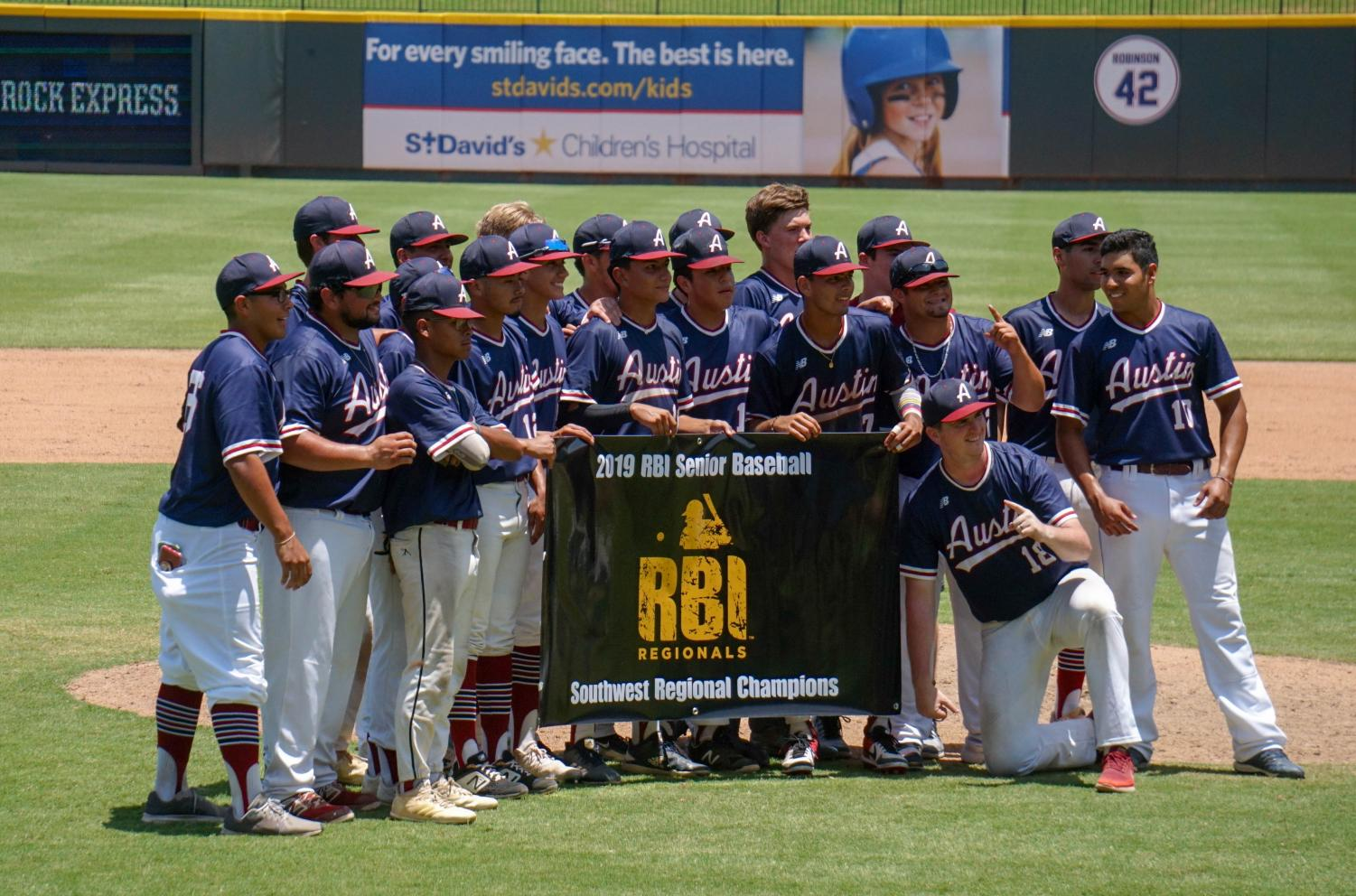 After defeating Astros RBI 8-0 to win the RBI Southwest Regional title and earn a berth in the MLB RBI World Series at Vero Beach, Fla., Aug. 4-9, RBI Austin players and coaches gathered for a victory photo on the Dell Diamond pitcher's mound.