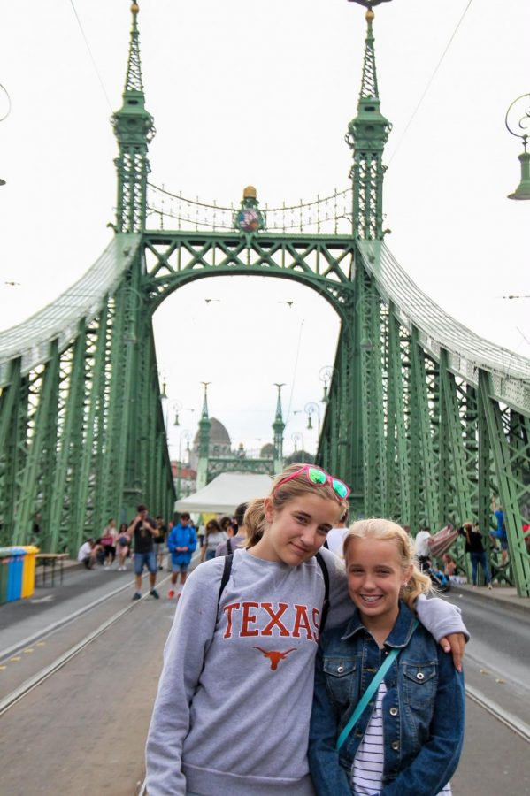 Anna and Audrey McClellan on the Liberty Bridge in Budapest. Every Saturday in July Liberty Bridge is closed to vehicles, and open to pedestrians, with some performances and activities throughout the day.