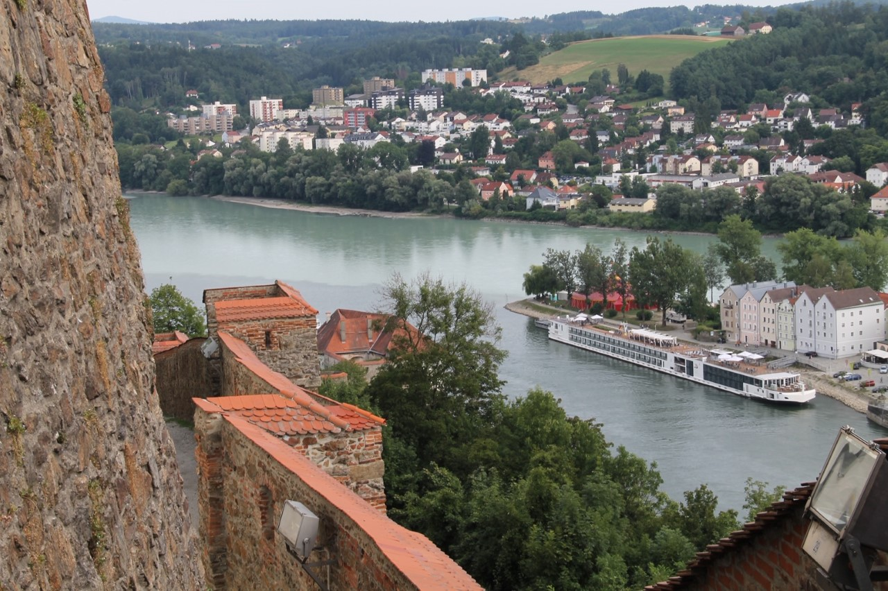 At the convergence of the Inn and the Danube Rivers in Passau, Germany, you can tell the different rivers by the color they are where they converge.